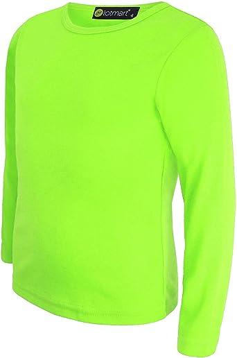 LOTMART Camiseta de manga larga básica para niña, camiseta de uniforme Marrón Neon Yellow 13-14 Años: Amazon.es: Ropa y accesorios