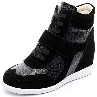 ae7e1a2188b93 rismart Women's Wedge Casual Hook&Loop Fabric&Suede Leather Fashion Sneakers