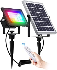 Solar Flood Lights Outdoor Solar Spotlight 7 Singe Colors & Color Changing RGB Dociai Solar Spot Lights with Remote Control 60LED IP67 Waterproof Landscape Light for Lawn, Patio, Tree, Yard, Garden