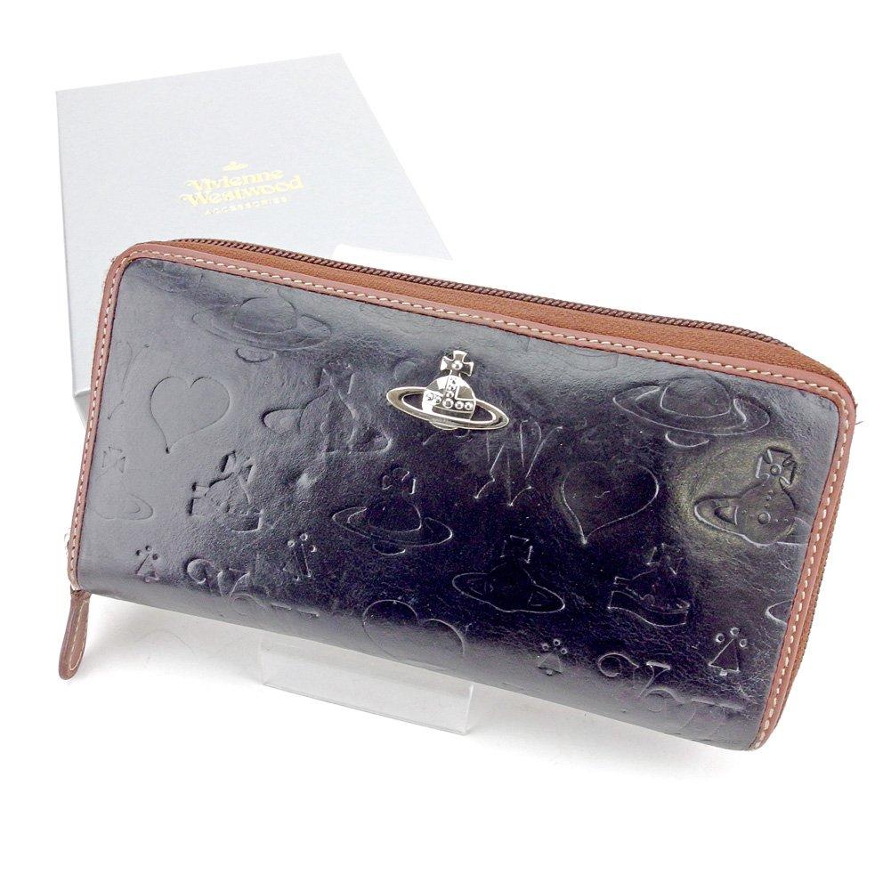(ヴィヴィアン ウエストウッド) Vivienne Westwood ラウンドファスナー 財布 長財布 ブラック 黒 ブラウン シルバー オーブ メンズ可 中古 T5822   B079SN2N45