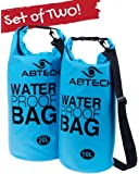 ABTECH Dry Bags Waterproof Set - 10 & 20 Liters - for Boating, Camping, Kayaking, Swimming, and Watersports