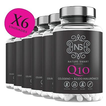 Colágeno + Q10 + ácido hialurónico + Vitamina C |Piel Radiante | Efecto Antienvejecimiento |100% Natural | PACK 6 (540 Cápsulas)