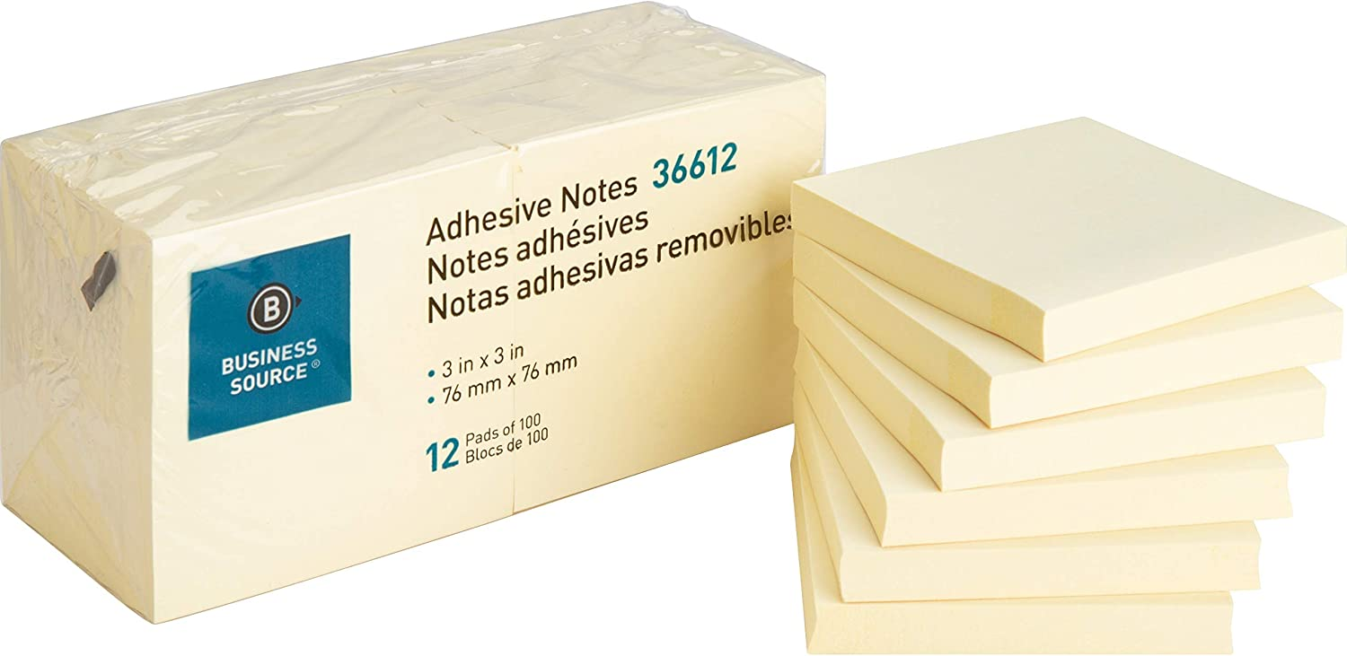 Business Source Yellow Repositionable Adhesive Notes, 3