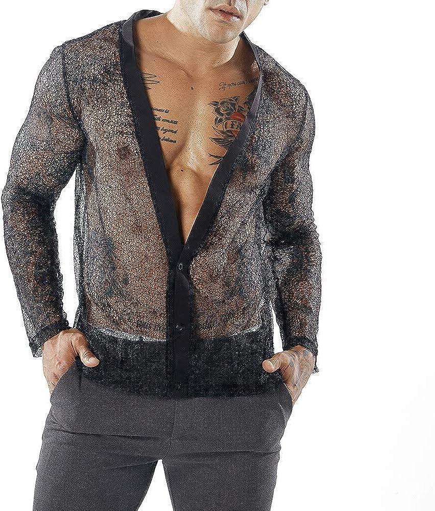 Camiseta Hombre Manga Larga Camisa Fiesta Hombre Camisa Transparente Camisa Encaje Sexy Camisa Slim Fit Camisa Delgada Personalidad Tops Casual Club Nocturno Danza Traje de Baile