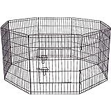 Pet Exercise Pen Tube Gate w/ Door - (8 Panel Playpen) Heavy Duty Folding Metal Out-Door Fence
