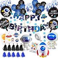 59Pcs Space Birthday Party Supplies Happy Birthday Banner Cupcake Toppers Rocket Astronaut Balloons Universe Planet…