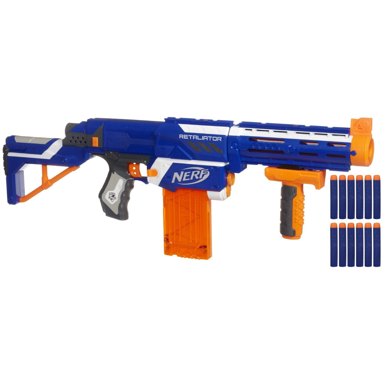 Amazon Nerf N strike Elite Retaliator Colors May Vary 4 Blasters in 1 3 Interchangeable Parts Fires up to 90 Feet Trademarks Hasbro Played