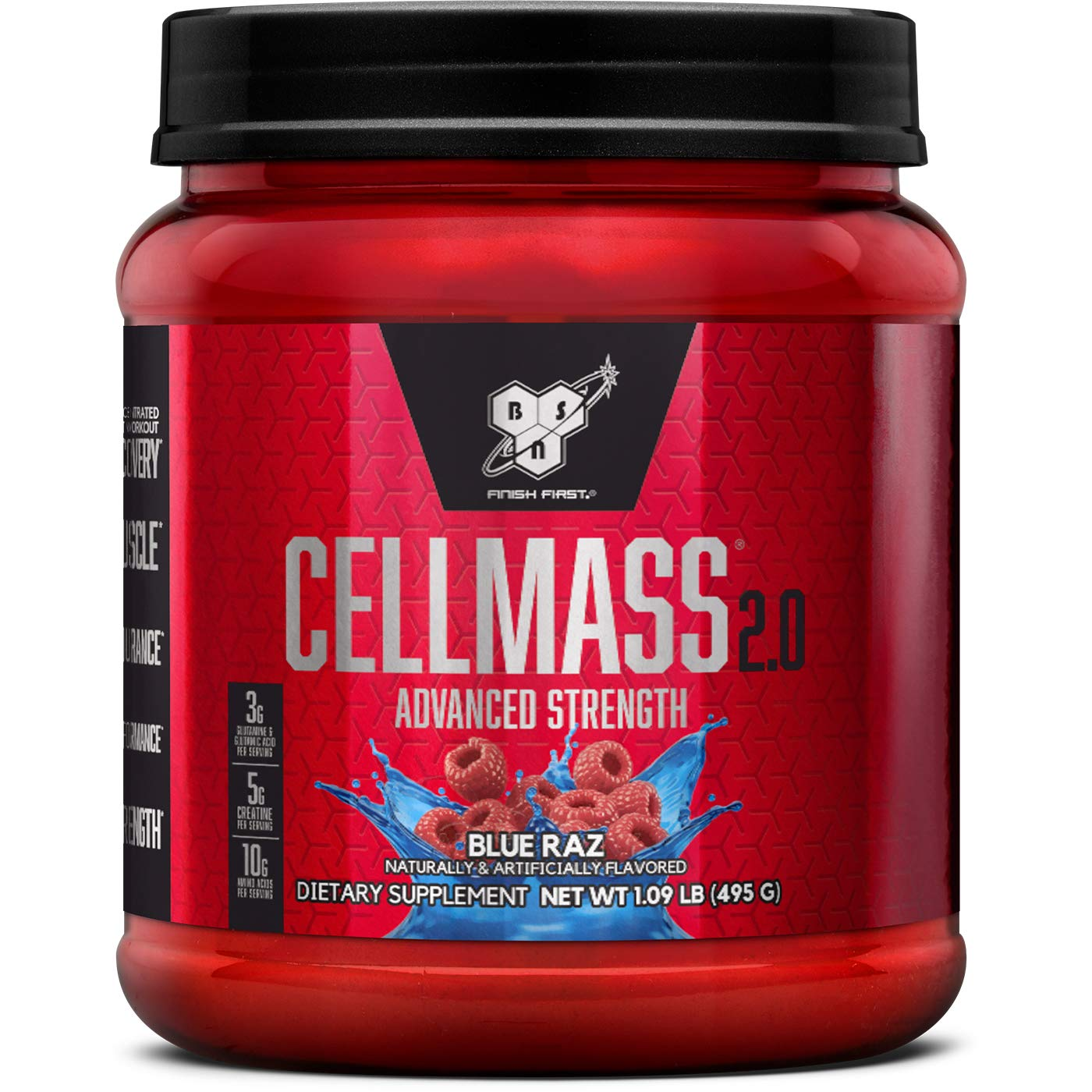 BSN CELLMASS 2.0 Post Workout Recovery with BCAA, Creatine, & Glutamine - Keto Friendly - Blue Raz, (50 Servings)