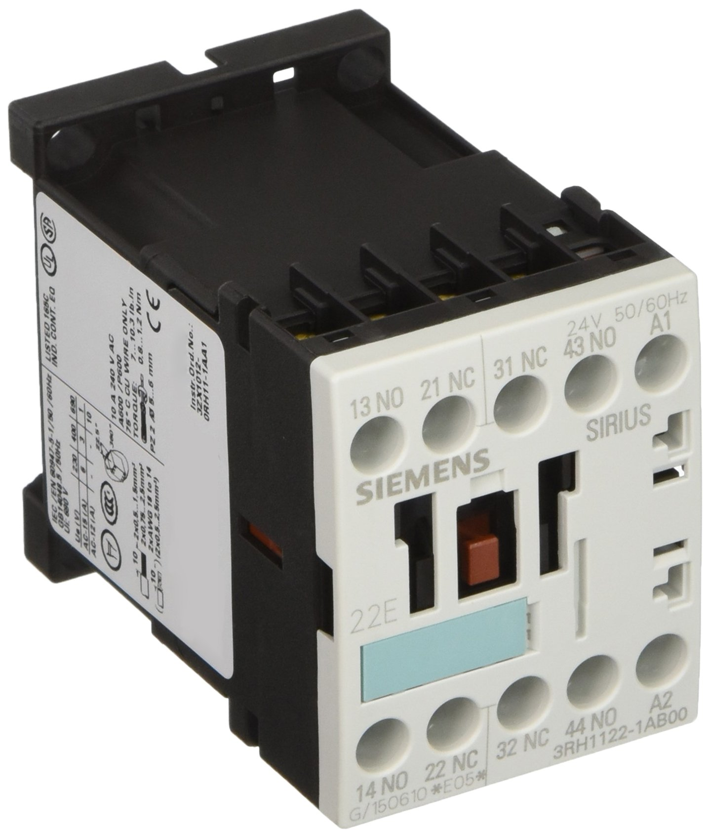 Siemens 3RH11 22-1AB00 Control Relay, Size S00, 35mm Standard Mounting Rail, AC Operation, Screw Connection, 22 E Identification Number, 2 NO + 2 NC Contacts, 24 V 50/60 Hz Control Supply Voltage