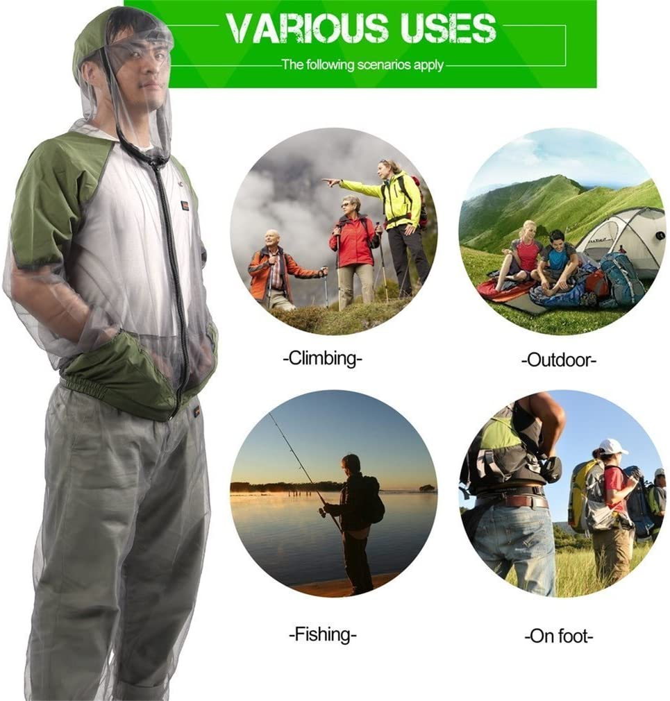 Camping Ligero antimosquitos Repelente de Red de Ropa,Protecci/ón contra Insectos Aventura al Aire Libre Pesca Changli Mosquito Suit
