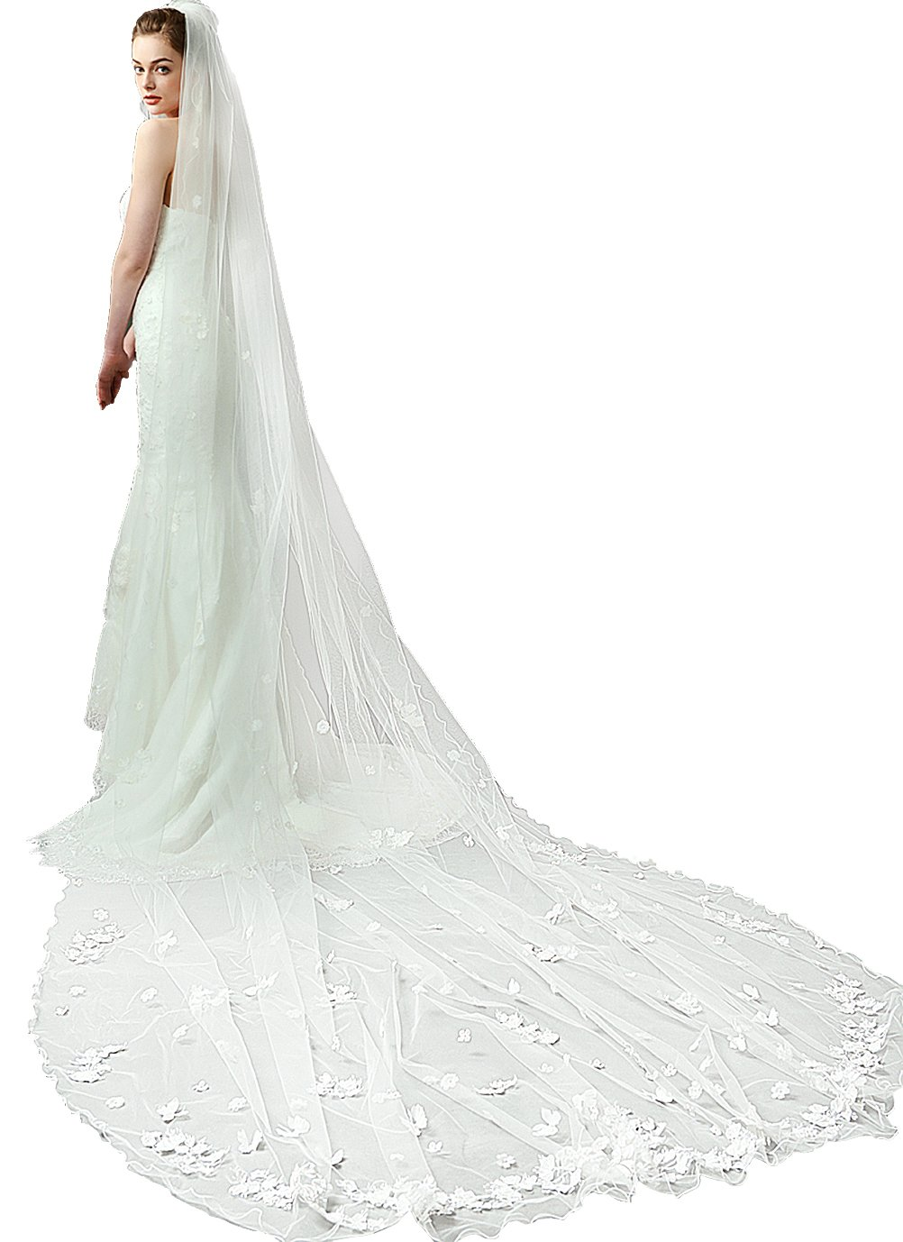 Old DIrd Lace Wedding Bridal Veil With Comb Lace Edge Cathedral Length Long lace Bridal Veil ivory (Beige, 157''118'')