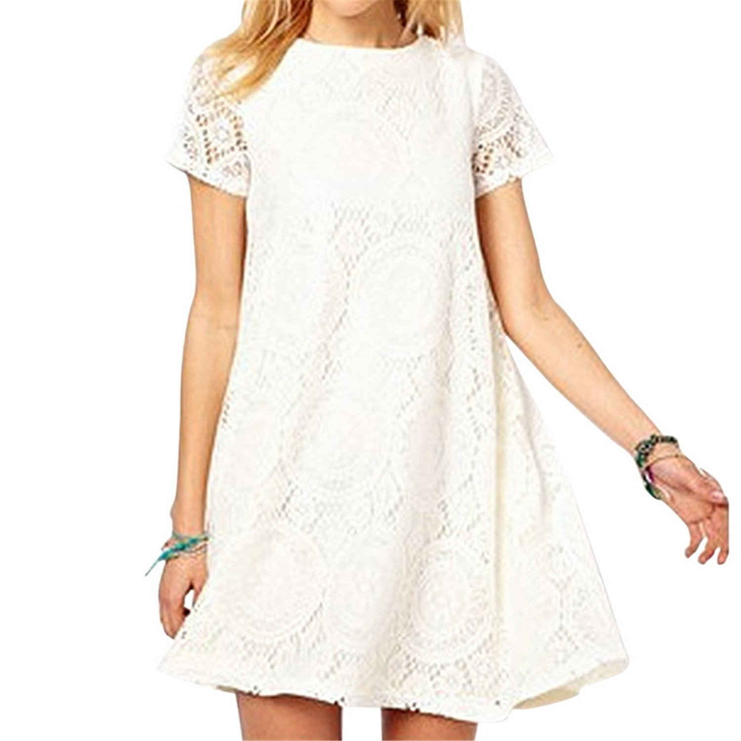 Chiffoned New Summer Lace Printing Casual Dress Loose O Neck Short Sleeve Hollow Out Beach Plus Size 5XL at Amazon Womens Clothing store: