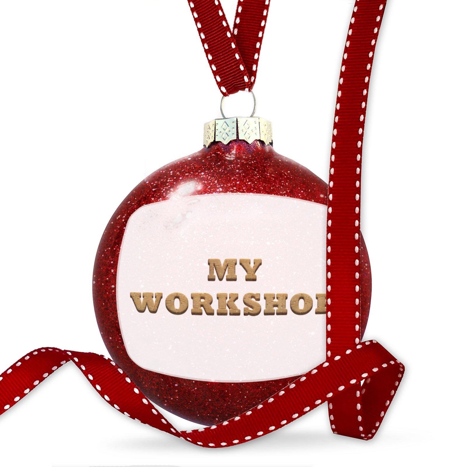 Christmas Decoration My Workshop Light Wood Block Ornament
