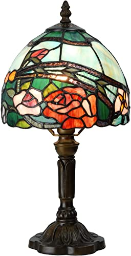 Bieye L10640 Dragonfly Tiffany Style Stained Glass Table Lamp Night Light with 12 inch Wide Lampshade and Metal Base, Orange, 18 inch Tall