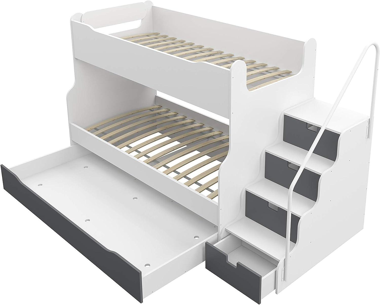 Litera Max 4 con cajón Escaleras en color blanco/gris: Amazon.es ...