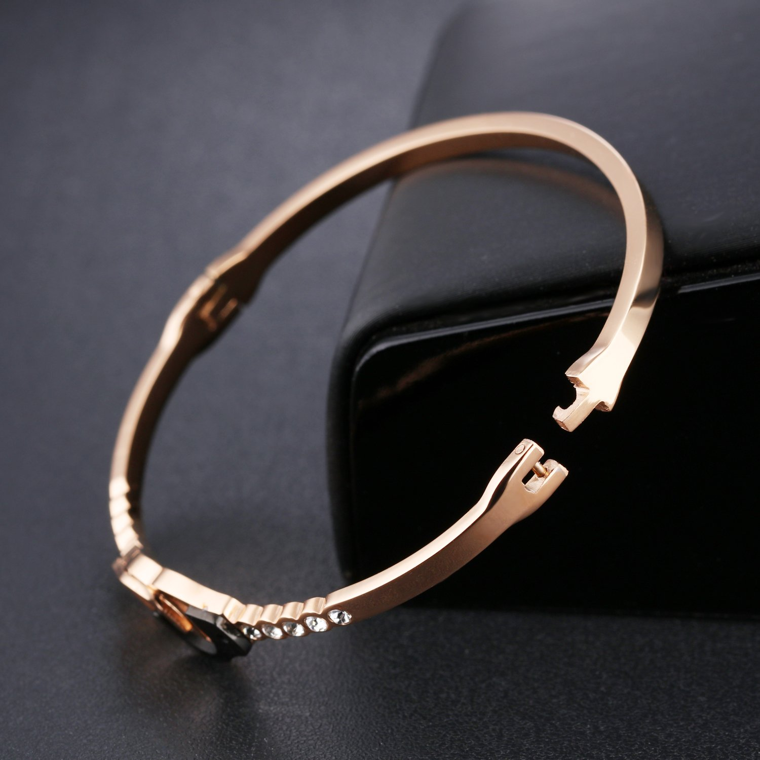 Keybella Bracelet Elegant Woman Girls Stainless Steel Handcuffs Lucky Gift