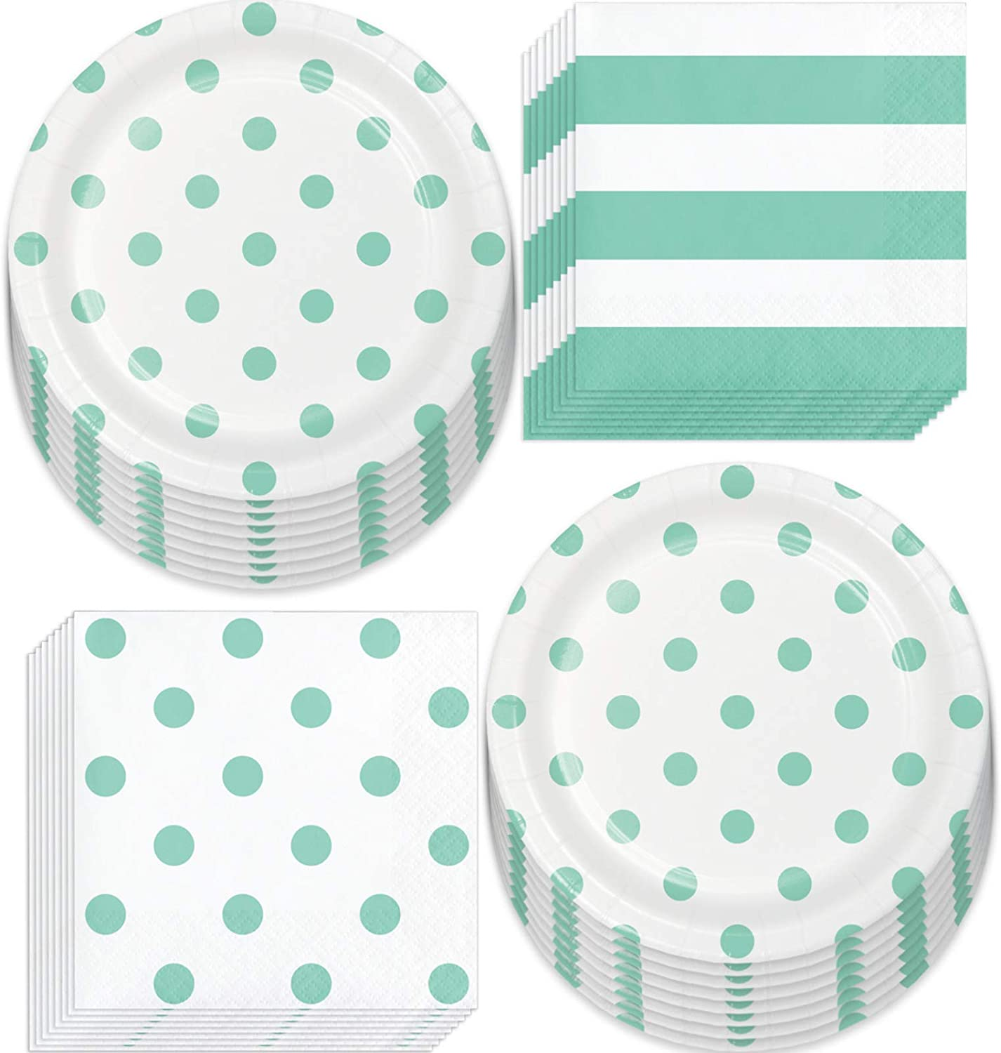Mint Party Supplies - Polka Dots and Stripes Fresh Mint Paper Dessert Plates and Beverage Napkins (Serves 16)