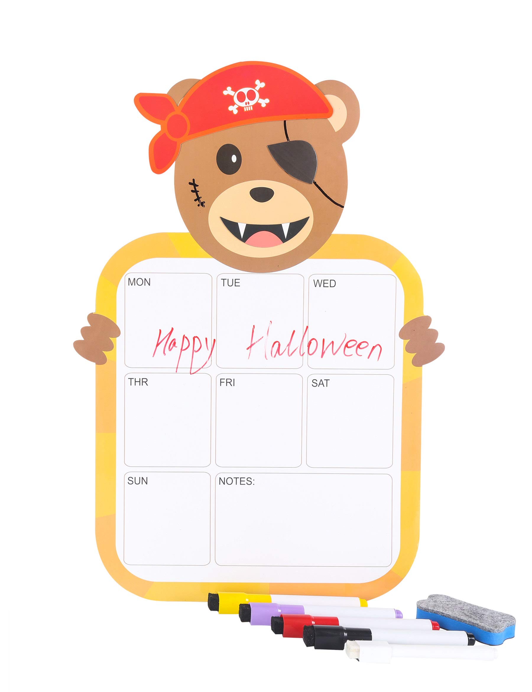 Magnetic Weekly Dry Erase Calendar Smart Planner Board for Kitchen Refrigerator Decoration with Halloween Cosplay Element,Christmas Cosplay Element,DIY Eye,to do List,5 Markers(Papa Bear)