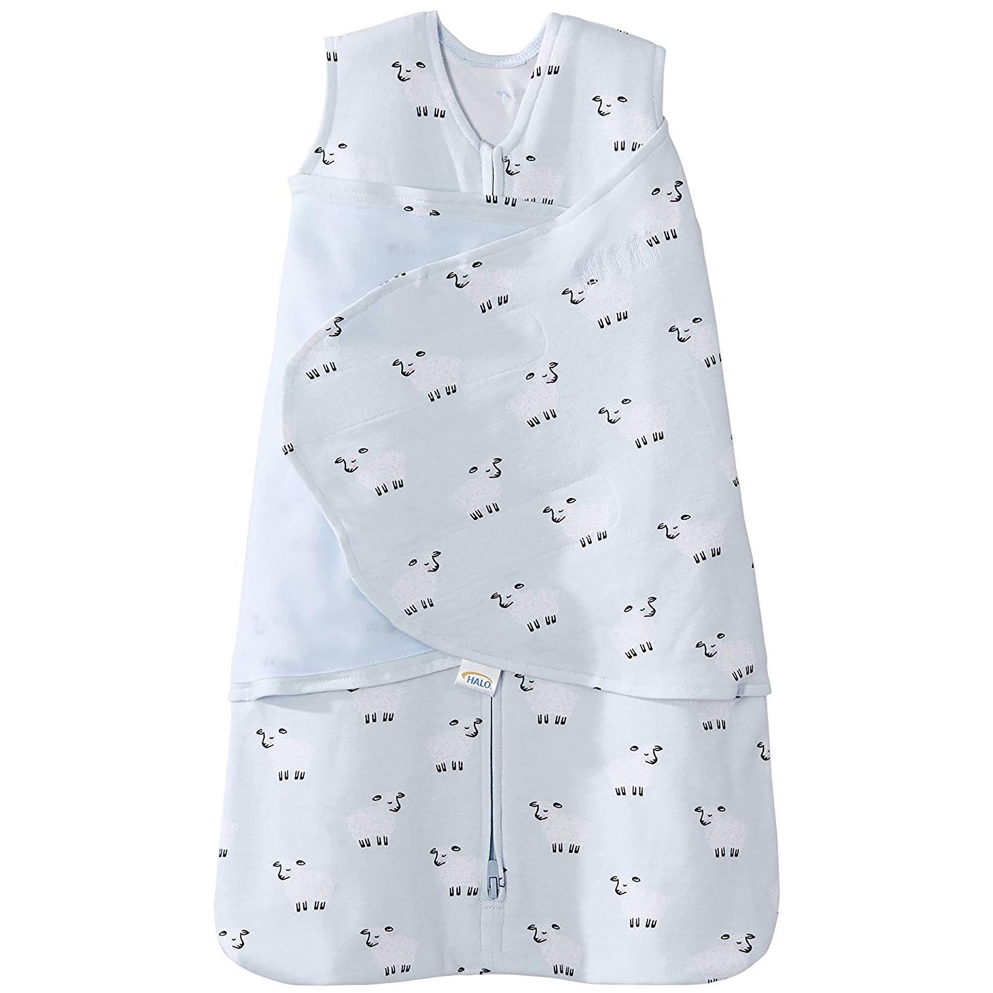 Halo 100% Cotton Sleepsack Swaddle Wearable Blanket, Aqua Sheep, Newborn by Halo