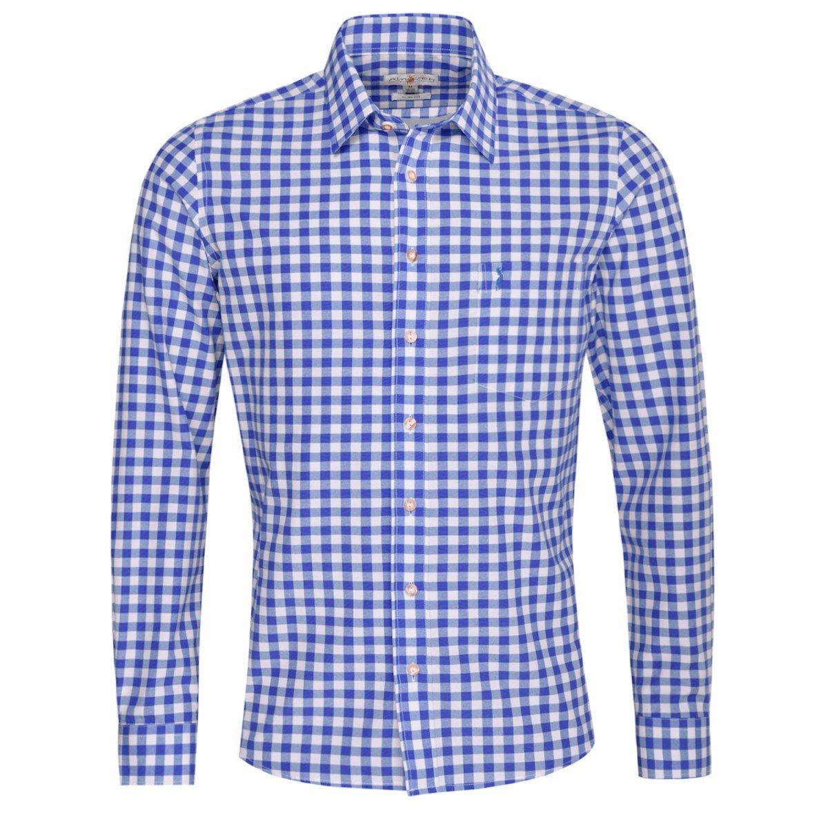 Almsach Trachtenhemd Clemens Slim Fit in Blau Inklusive Volksfestfinder Größe:XL Farbe:Blau