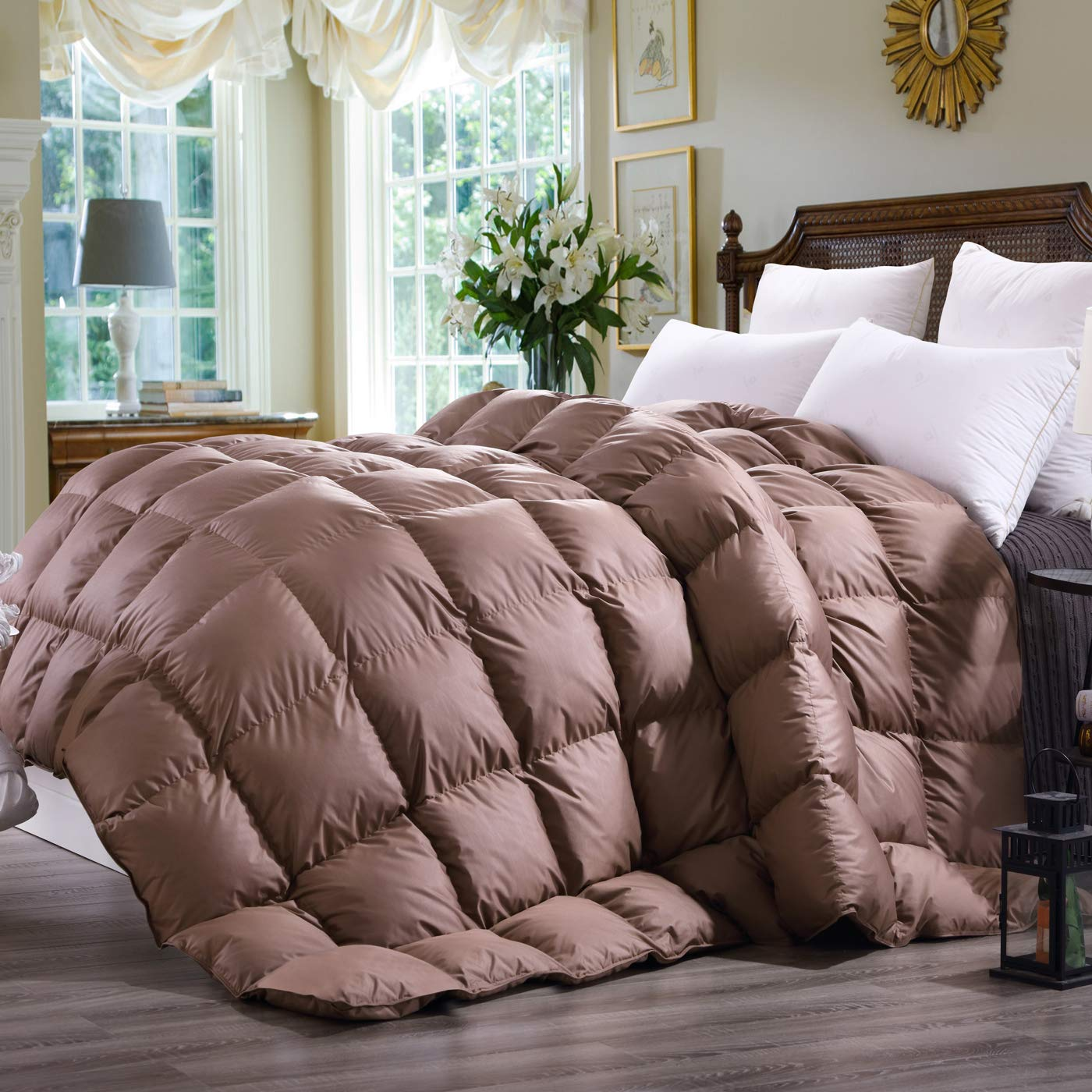 C&W Luxurious Queen Size Siberian Goose Down Comforter,Heavywarmth Winter Comforter,Down Comforter Queen Size,1200 TC-100% Egyptian Cotton Cover,750 Fill Power,60 oz Fill Weight, Brown Solid BNTC C&W Duvet04