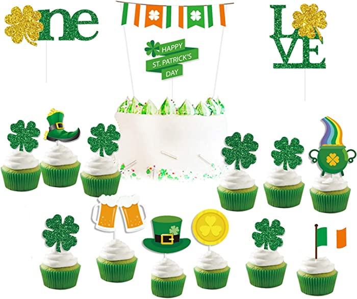 St Patrick's Day Dessert Cupcake Toppers, Saint Patty's Day 16 Pcs Glitter Green Gold Irish Theme Cake Toppers Decorations Food Picks Clear Treat Picks for Irish Shamrock Theme Party Favor Supplies