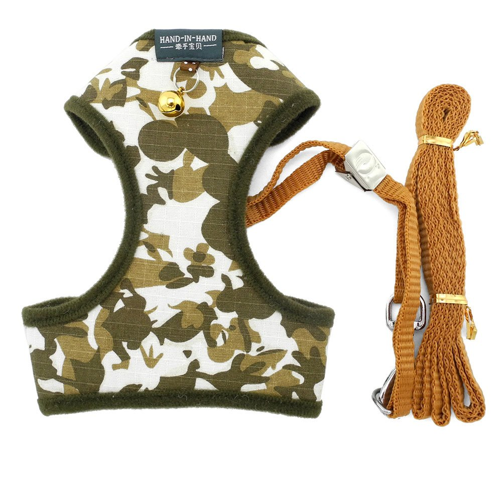 ZUNEA Camo Small Dog Vest Harness and Leash Set Adjustable Mesh Padded No Pull Pet Puppy Cat Soft Walking Harness Comfort Control 12''-17'' Green L