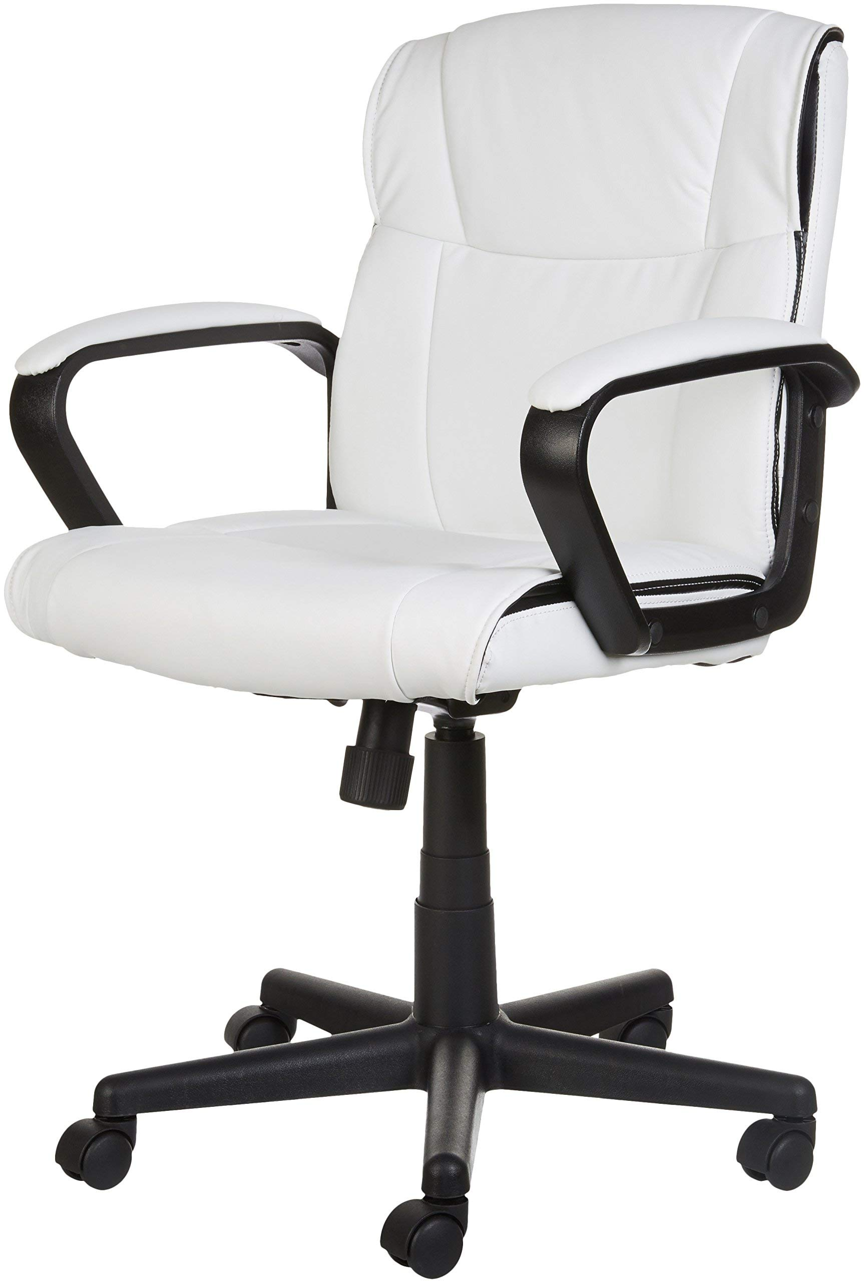 AmazonBasics Classic Leather-Padded Mid-Back Office Computer Desk Chair with Armrest - White by AmazonBasics (Image #6)