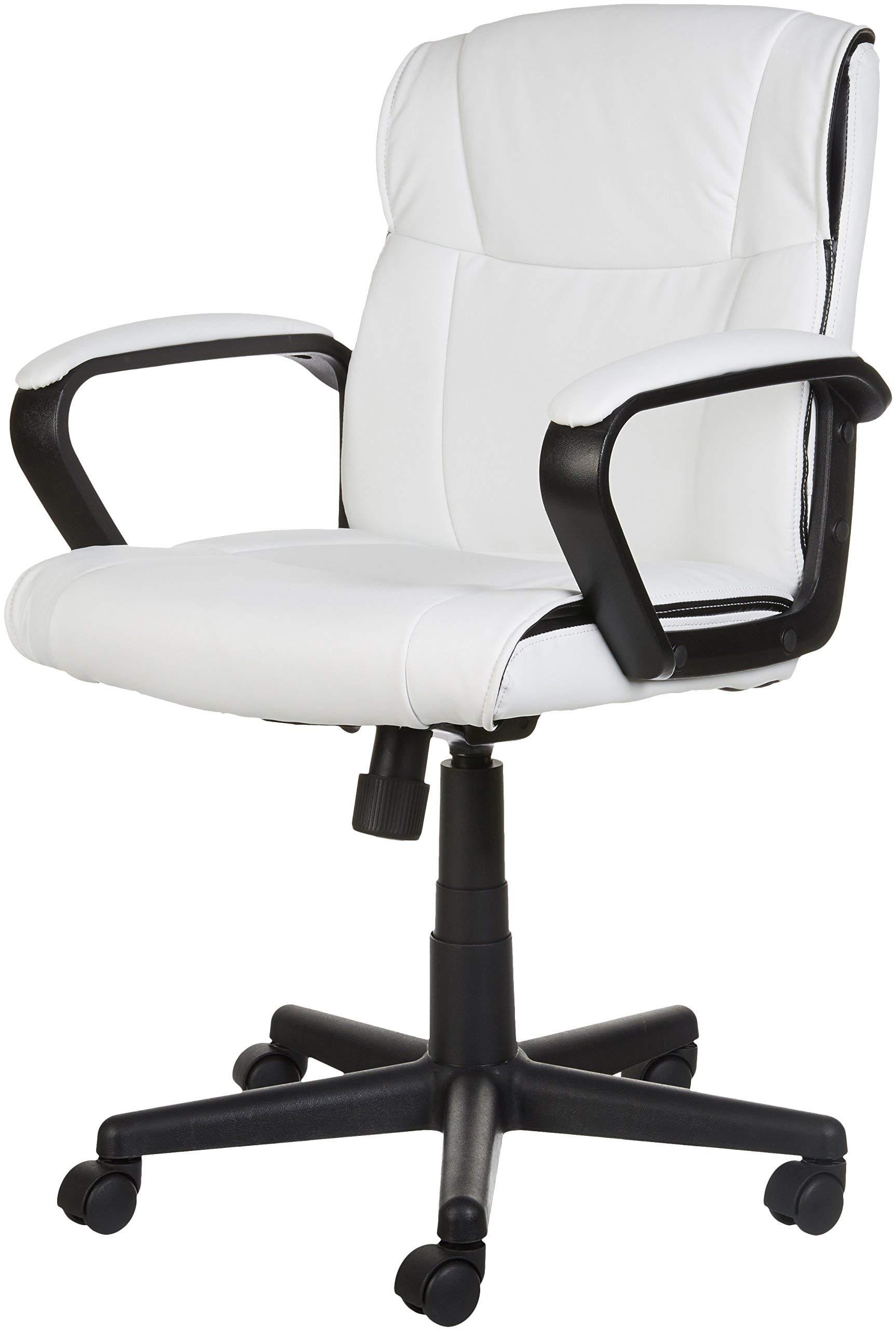 AmazonBasics Classic Leather-Padded Mid-Back Office Chair with Armrest - White by AmazonBasics (Image #6)