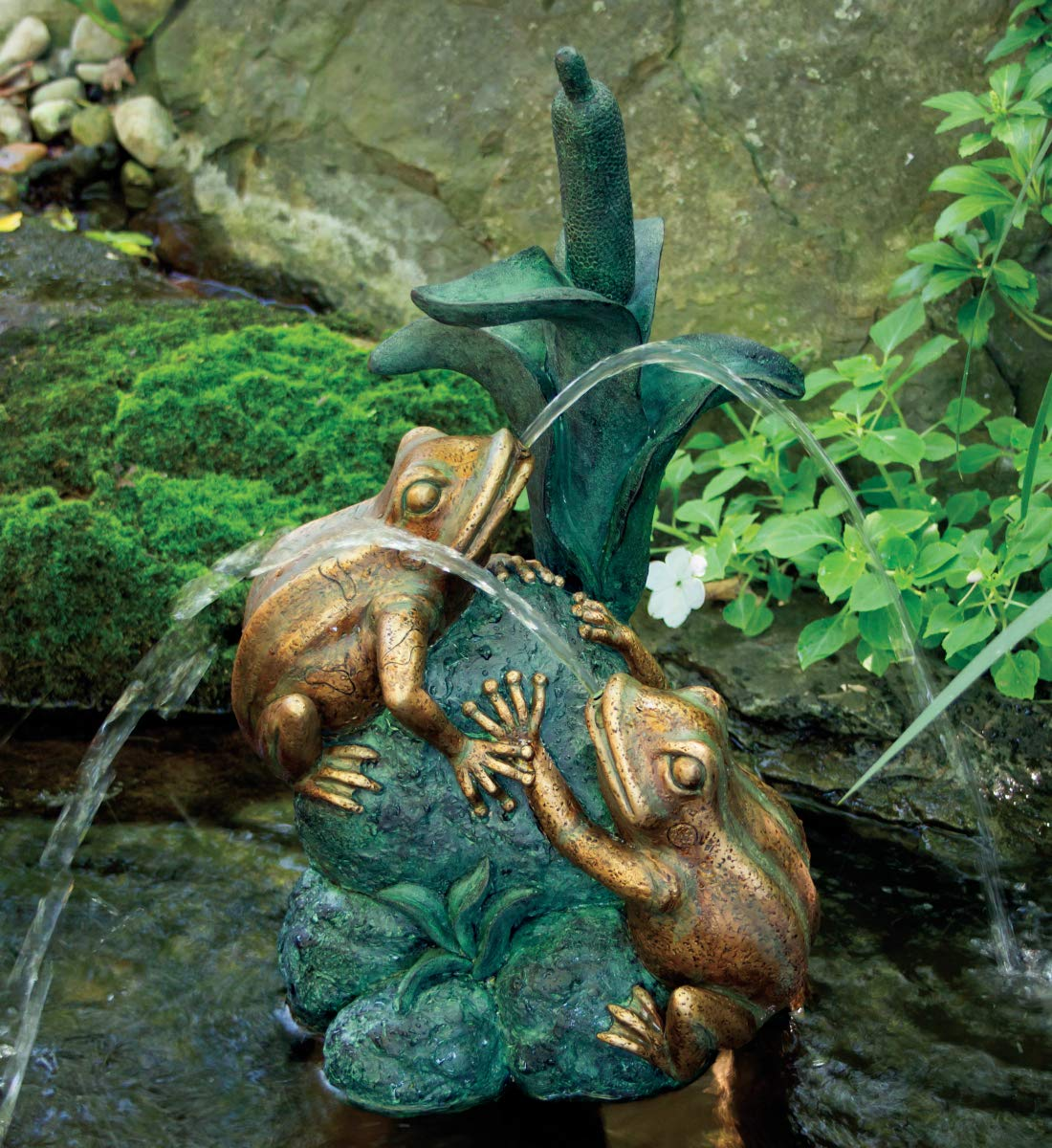 Aquascape Double Frog with Cattail Spitter Fountain for Ponds and Water Gardens | 78304 by Aquascape
