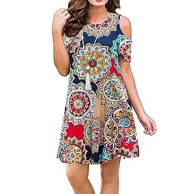 8ea60159fe8c2 Semi Formal Dresses for Women,Luranee Misses Bohemian Clothes Cold Shoulder  Short Sleeve Floral Pattern