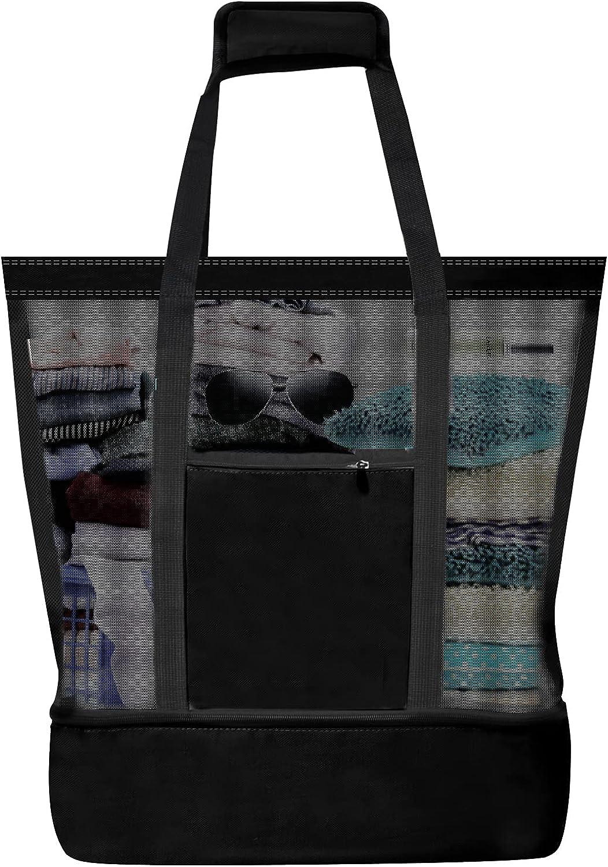 Ladies Picnic Bag Large Beach Bags Mesh Refrigerator Compartment Oversized Zipper Closed Beach Tote Bag 2 in 1 Mesh Beach Bag