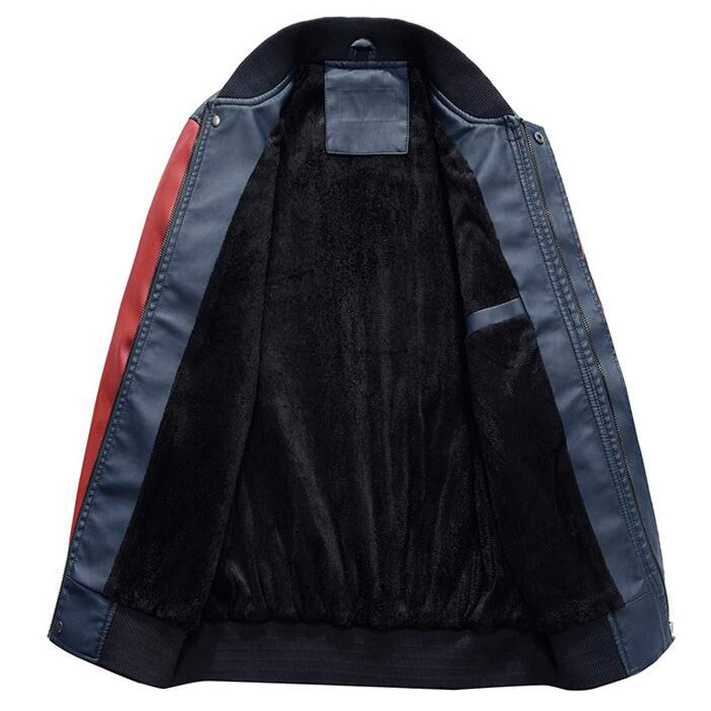 01d177793 Jacket Men Pu Leather Coats Slim Fit College Luxury Fleece Pilot ...