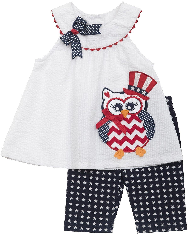 Baby Girls Red White Blue Owl Applique Americana Patriotic Dress//Capri Set