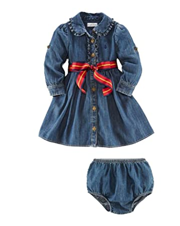 10d91ea3231a Amazon.com   Ralph Lauren Polo Baby Girls Denim Belted Dress Set ...