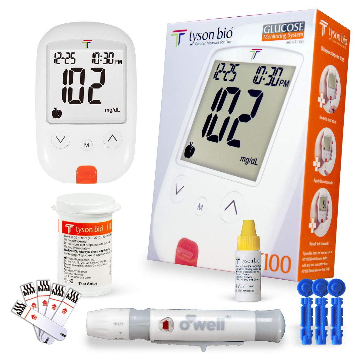 O'Well Tyson Blood Glucose Testing Kit + 50 Refills | Includes: Meter, 50 Test Strips, 50 Lancets, Lancing Devices, Control Solution, Manuals, Logbook & Carry Case