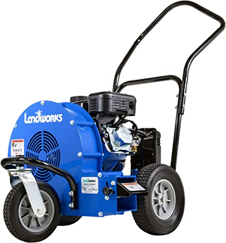 Landworks Leaf Blower Super Duty Wheeled Walk Behind Jet Sweep Manual-Propelled Powerful 7HP 212cc 4 Stroke OHV Motor Output Wind Force of 200 MPH 2000 CFM at 3600RPM use for Garden Lawn