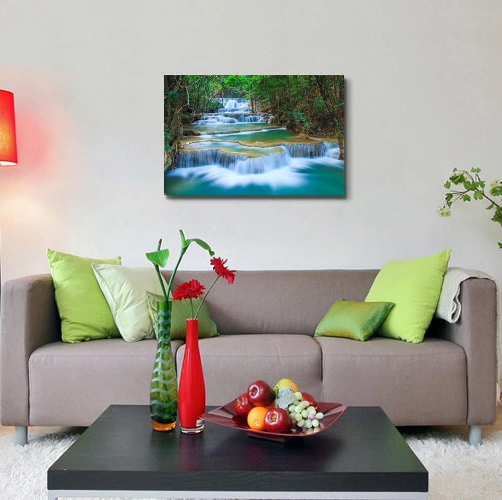 Deep Forest Waterfall in Thailand - Canvas Art Wall Art - 24