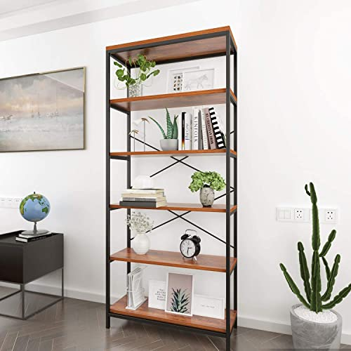 BATHWA Tall Bookshelf Mordern Wood Metal Open Industrial Book Shelves Bookcase Shelving Unit Storage System 5 Tier