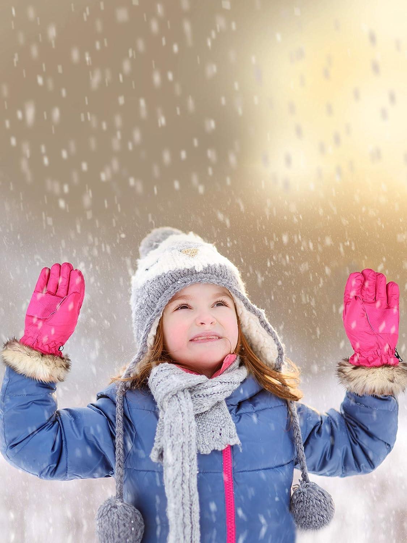 2 Pairs Kids Winter Snow Ski Gloves Children Waterproof Warm Mittens for 8-15 Years Girls