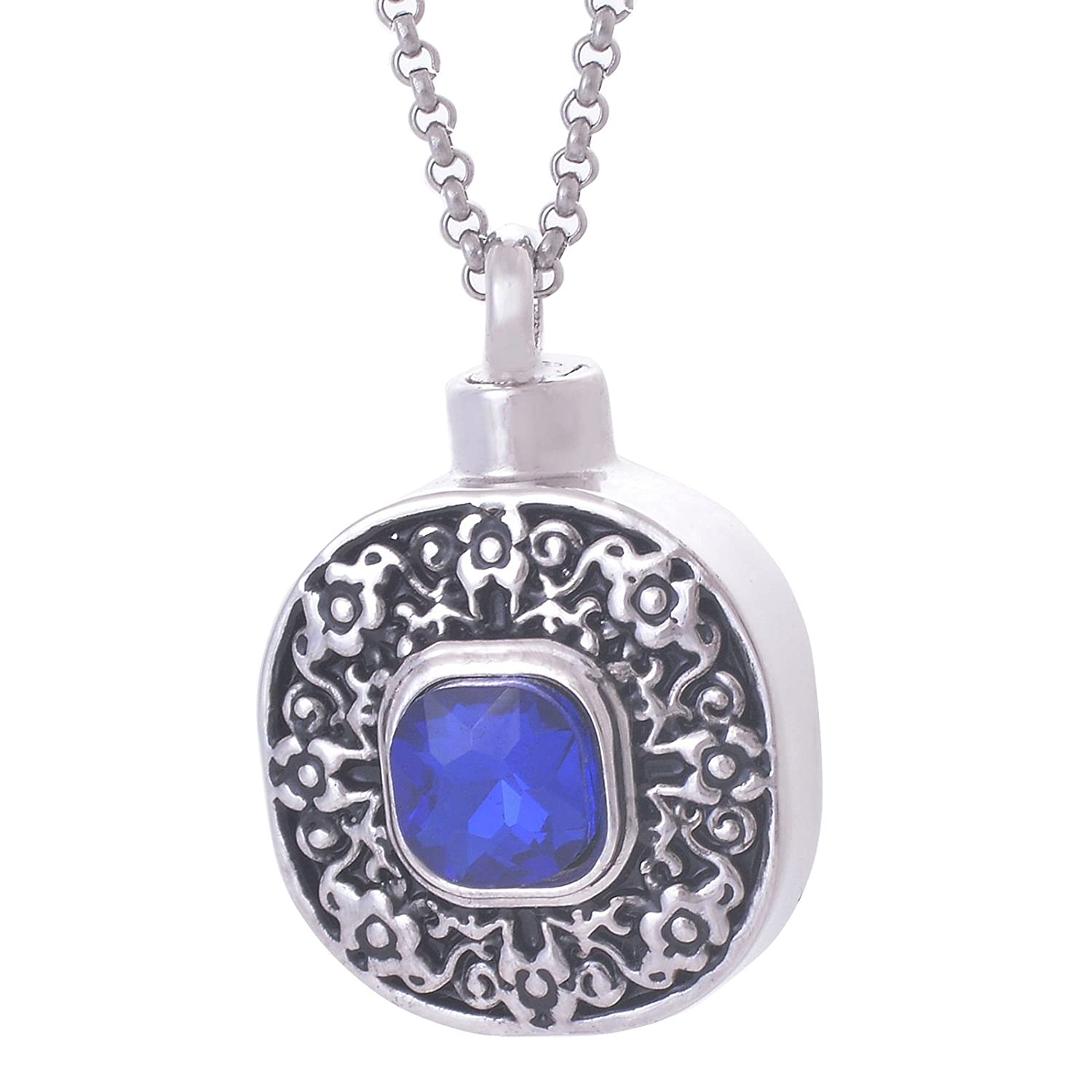 Gnzoe Round Tag Memorial Ash Urn Necklace Stainless Steel Cremation Jewelry Silver