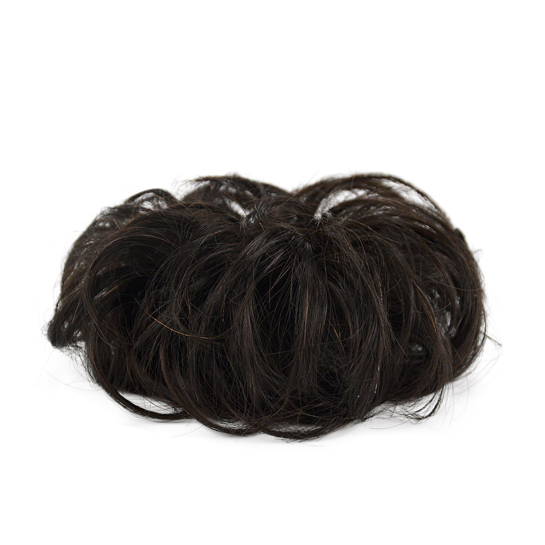 newest eee95 2e3ca Feshfen Haargummis Extensions aus Echthaar für Haarknoten und  Hochsteckfrisuren, Donut-Haar-Dutts, lockige, zerzauste Haarteile für  Damen, ...