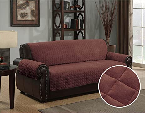 Furniture Protector Pet Cover Quilted Microsuede Sofa 70u0026quot; X 110u0026quot;    Brown