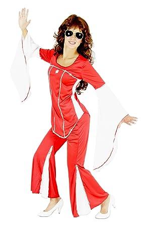 FOXXEO Disfraz de Discoteca de los años 70 Rojo para Damas Traje ...
