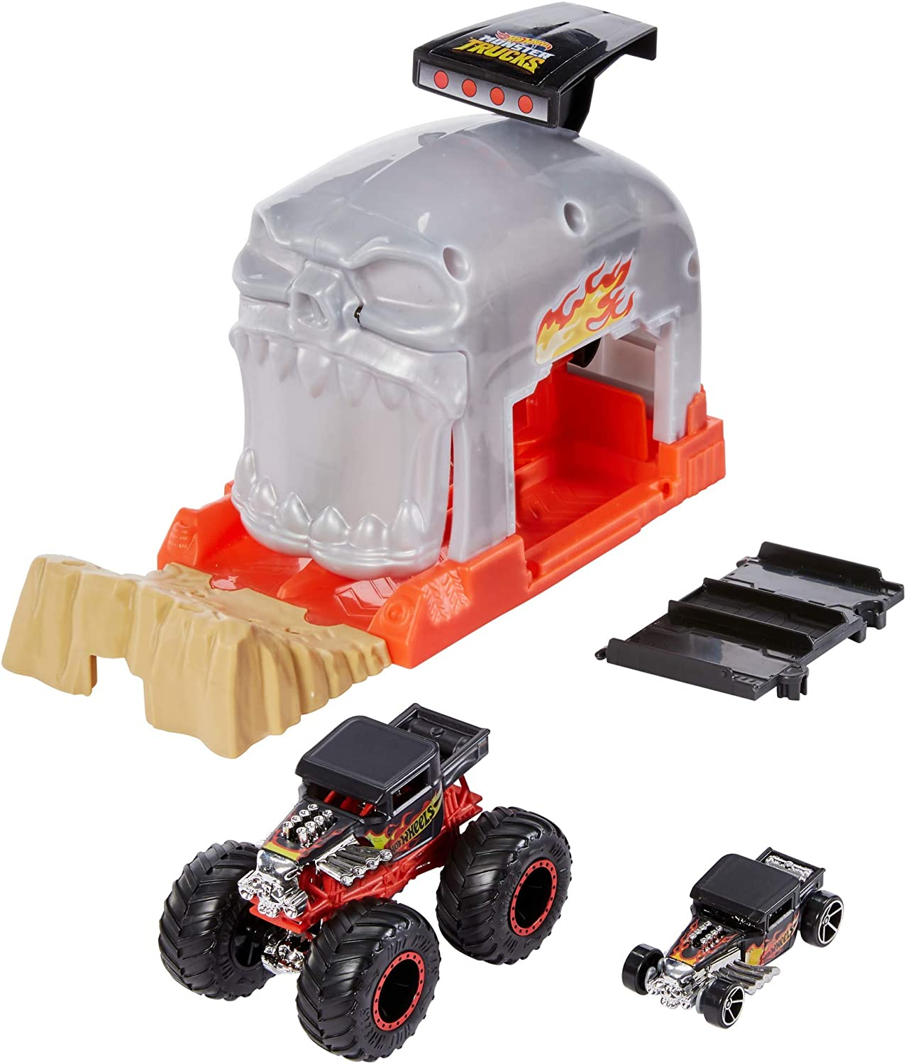 Hot Wheels Monster Truck Pit & Launch Play Sets with a Monster Truck and a 1:64 car, Team Bone Shaker
