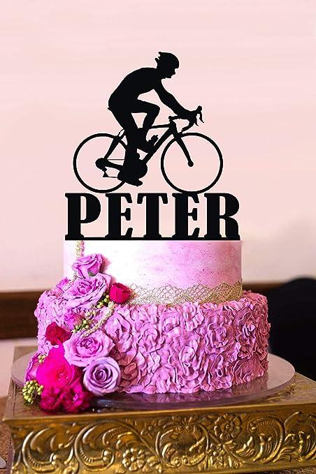 Decoración para tarta de bicicleta de montaña personalizada para tarta de cumpleaños: Amazon.es: Hogar