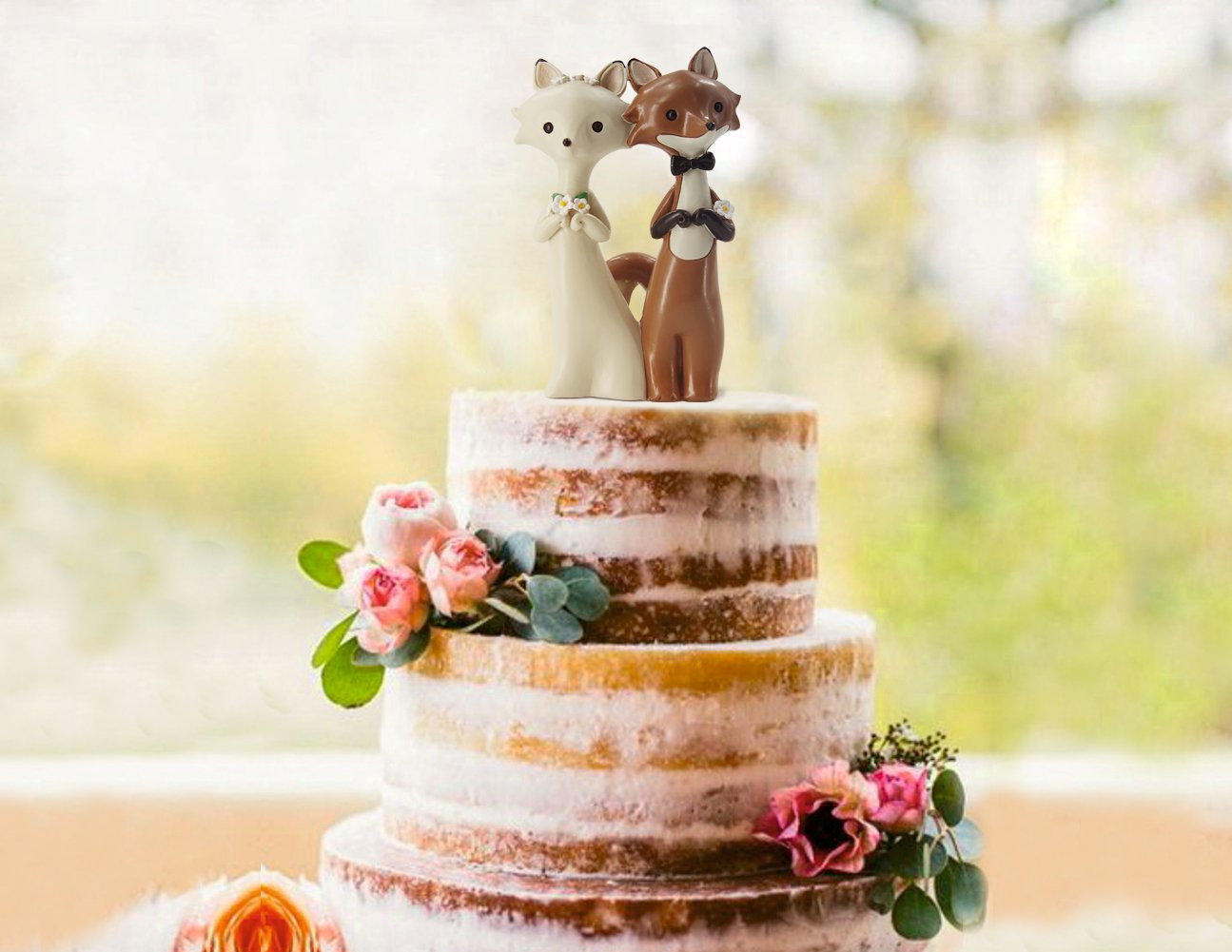 Amazon.com: Awofer Wedding cake topper, Rustic Woodland animals ...
