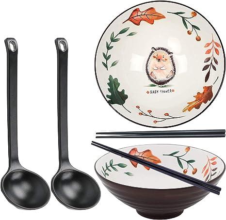 mit passenden L/öffeln 60 Unzen Pho Nudel Udon und Soba japanische Keramikschale f/ür Suppe Essst/äbchen und Gestellen schwarz JNN 2 Sets Gro/ße Ramenschalen