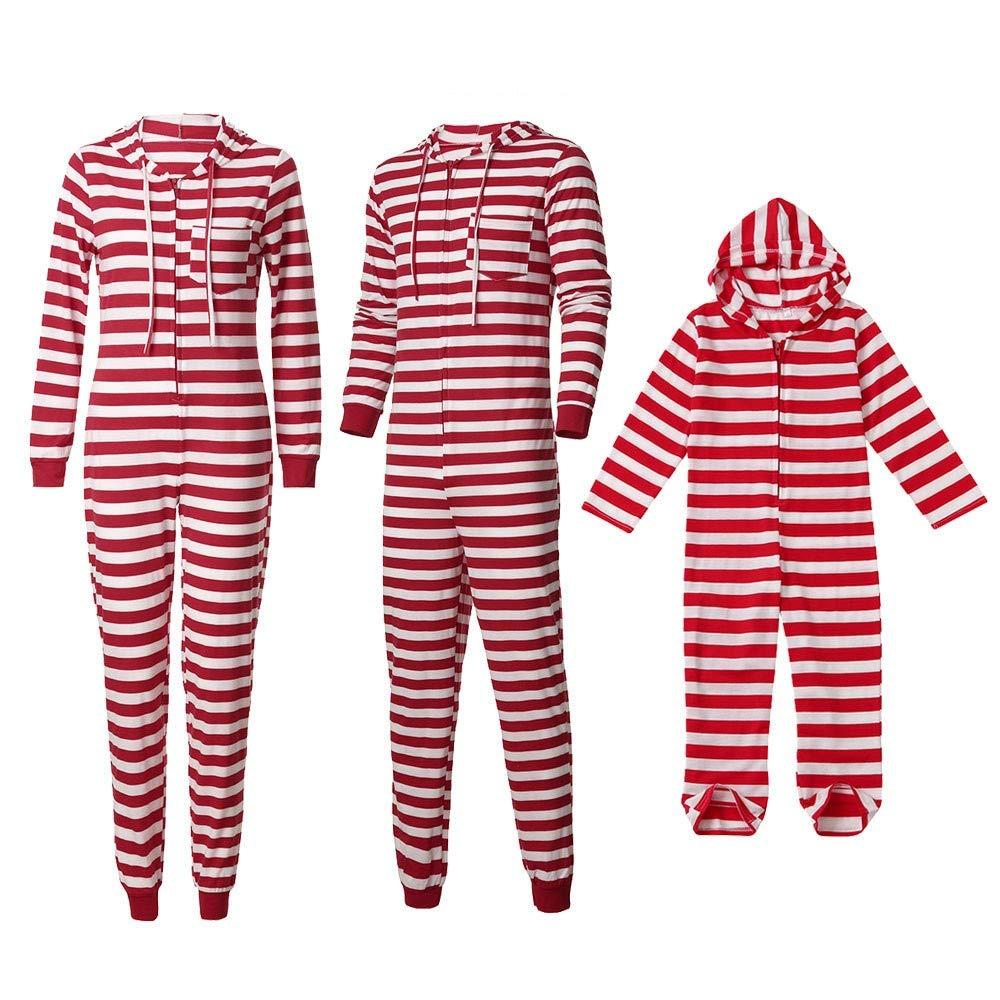 Gufenban Christmas Pajamas Family Little Boys Girls' Red Stripe Christmas Pjs Cotton Pajama Sets (Men - Red,XXL)