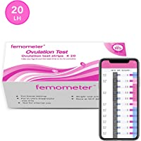 20 x Ovulation (LH) Test Strips Kit, Highly Sensitive and Accurate Results, Smart App (iOS & Android) Save All Test Results (3.5mm Width) by Femometer